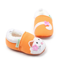 Delebao Warm Cartoon Style Prewalkers Baby Girl Shoes Lovely Orange Cat Soft Sole wholesale