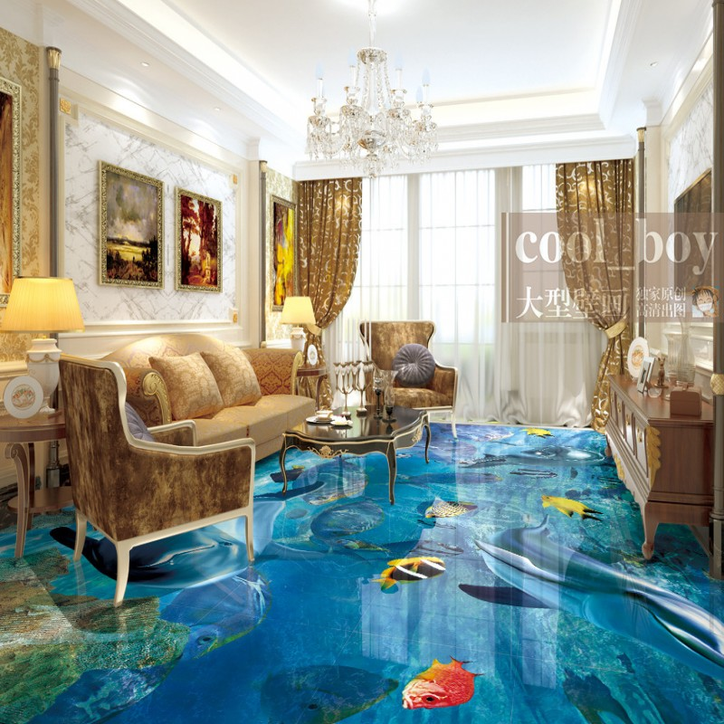 Free Shipping 3d marine world dolphin fish aquatic grass floor thickened wear non-slip kitchen mall bathroom flooring mural free shipping floating suspension mountain dolphin 3d outdoor floor painting wear non slip bedroom bathroom flooring mural