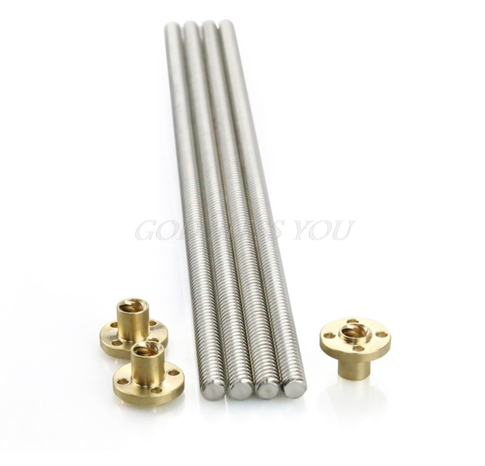 3d printer parts 100-600mm 8mm Acme threaded Rod Stainless steel Leadscrew+T8 Nut For CNC 3D printer