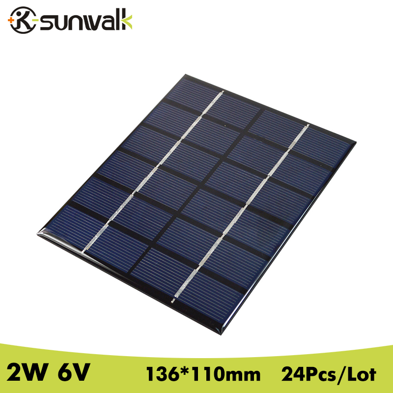 SUNWALK 24pcs 6V 2W 330mA Epoxy resin Encapsulated Solar Cell Panel Polycrystalline Silicon Solar Panel for