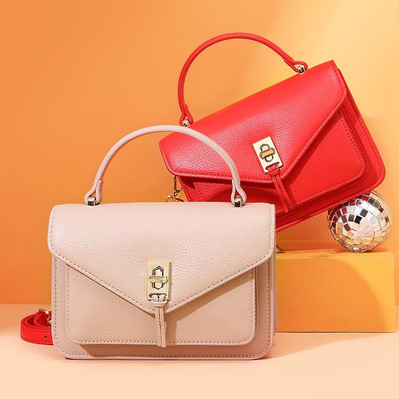 Real Cow Leather Genuine Korean Handbags Women Small Bag Fashion Ladies Crossbody Shoulder Bags Girls Hand