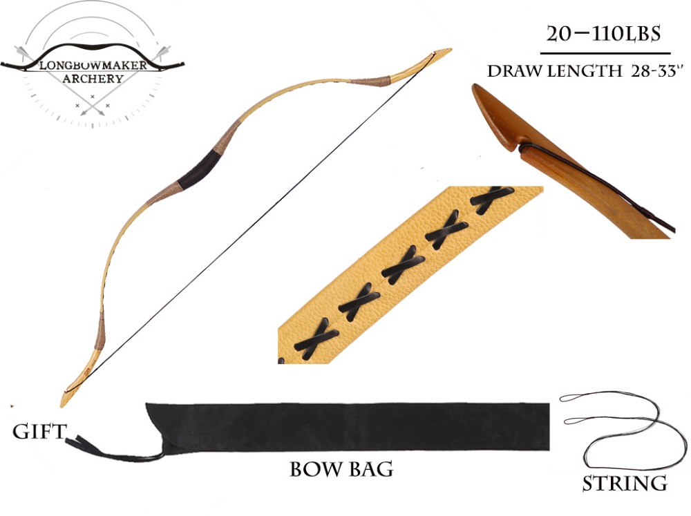 LongbowMaker Ali Bow Traditional Handmade Hungarian Yellow Cow Leather Longbow Archery Hunting Recurve Bow Outdoor Hunting longbowmaker handmade red pigskin kids bow archery hungarian style longbow for beginner 10 25lbs prp