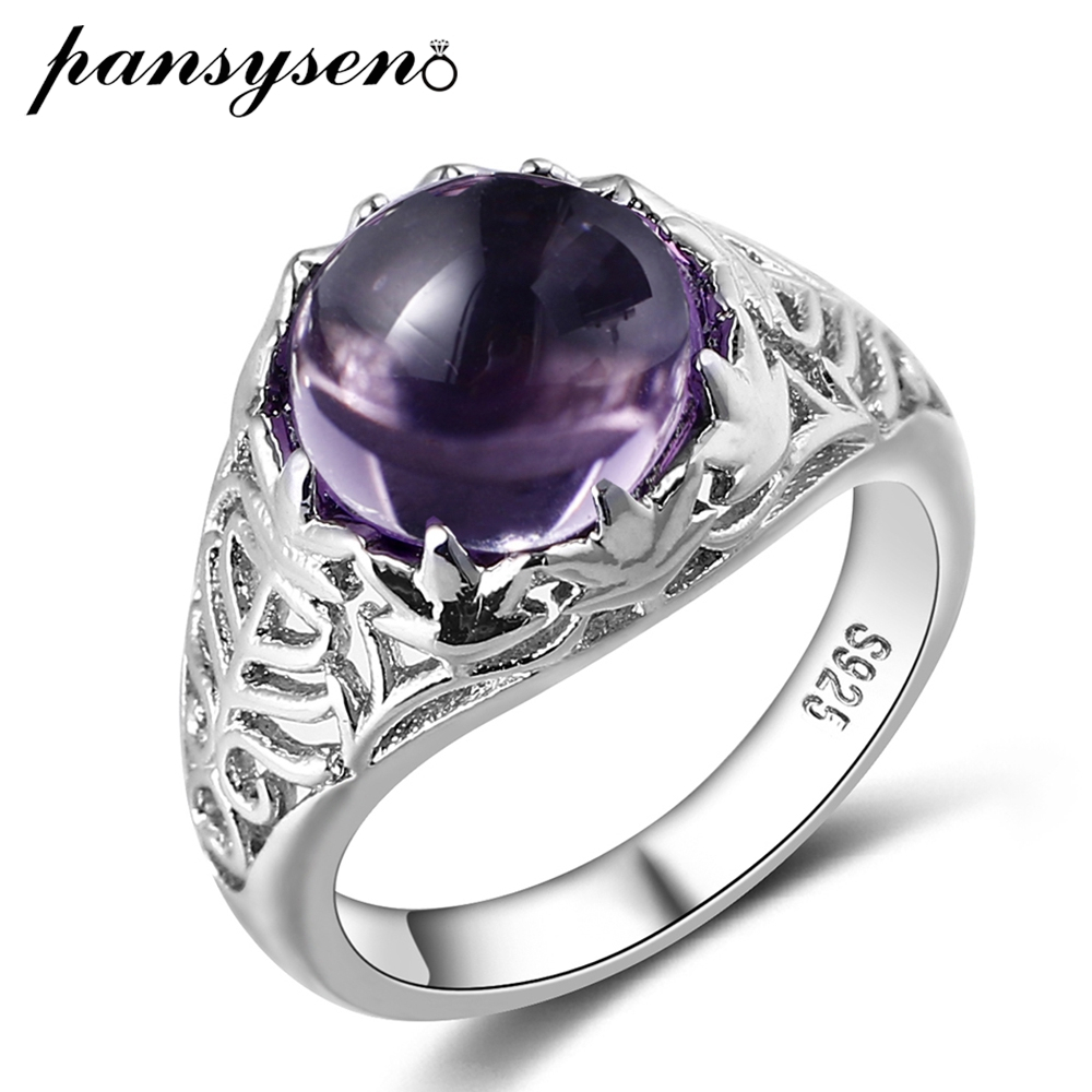 PANSYSEN Vintage Style Round Amethyst Finger Ring Real 925 Silver Jewelry Purple Gemstone Rings For Women Wholesale Size 6-10