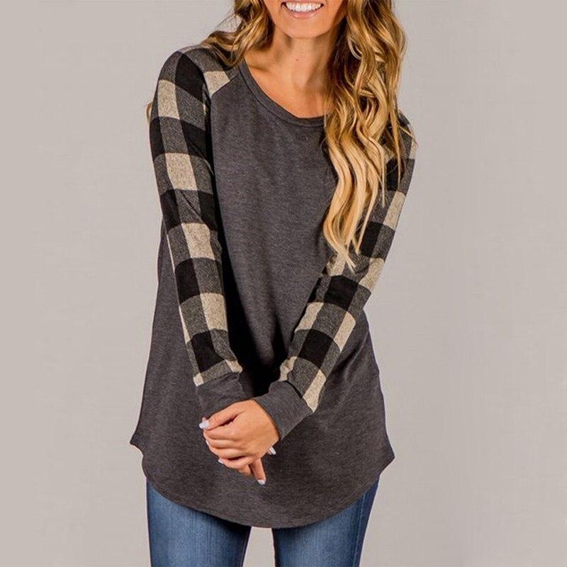 women-s-round-neck-plaid-sleeve-pullover-tee-shirt (2)