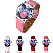 SmileOMG Women Watch Cat Pattern Leather Band Analog Quartz Vogue Wrist Watch  ,Aug 19