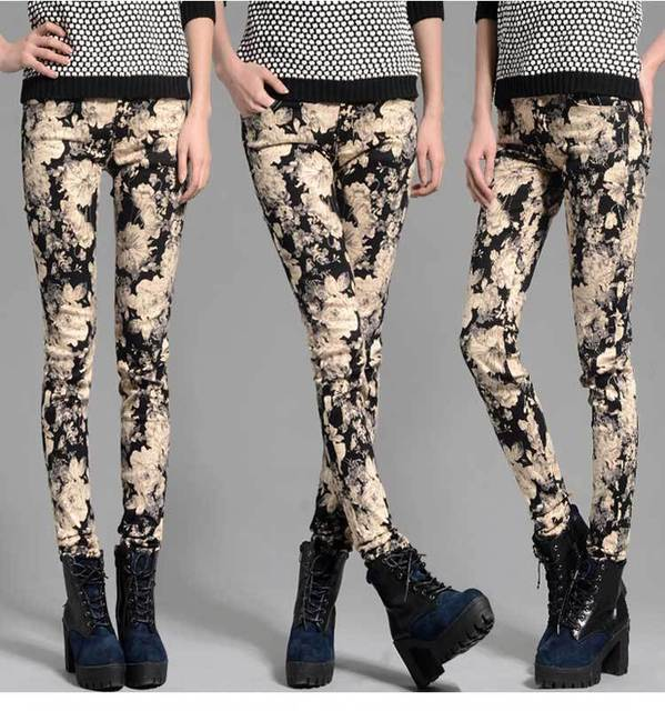 Maternity Autumn new Korean fashion printing stretch pencil pants pregnant belly care leggings for pregnant women