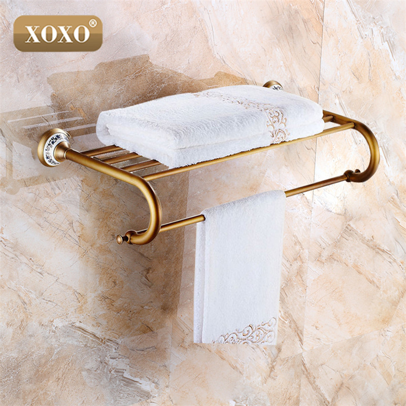 XOXO New Antique  copper with ceramic towel rod rack shelf towel rack fashion bathroom accessories luxury bath towel 11020BT whole brass blackend antique ceramic bath towel rack bathroom towel shelf bathroom towel holder antique black double towel shelf