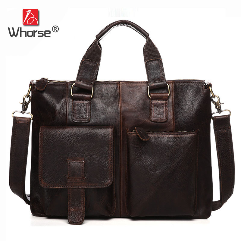 [WHORSE] Brand Luxury Large Big Size Genuine Leather Briefcase Men Messenger Bags Cowhide 15.6 Laptop Business Bag WB2600