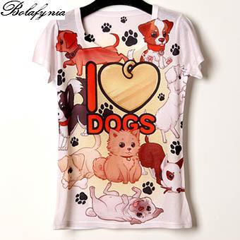 Camisa das mulheres T de verão Eu amo cães de impressão 3D personalizado cor 19 senhora Camisa de manga curta T