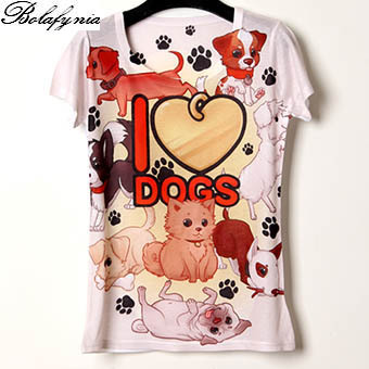 Women T Shirt summer I love dogs 3D printing personalized color 19 lady short sleeve T Shirt