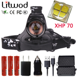 Litwod Z20 LED XHP70 Headlight Camping Light LED head light Headlamp head flashlight wearing rechargeable lighting Head Lamp