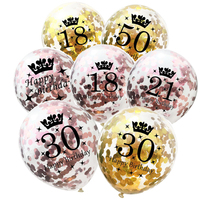 5pcs Rose Gold 18th 21st 30th 40th 50th Birthday Balloons Confetti Happy Anniversary Party Decorations Adult