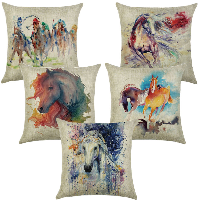 Pillows Decorative Cotton Linen Cushions 45*45 Cushion Cover Sofa Horse Printed Pillowcase For Living Room Pillow Cover 40581