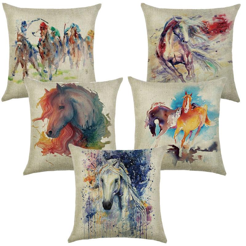 Pillows Decorative Cotton Linen Cushions 45*45 Cushion Cover Sofa Horse Printed Pillowcase For Living Room Pillow Cover 40581