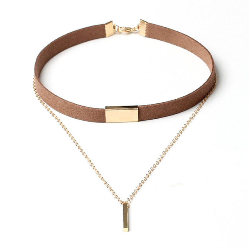 2017 New Velvet Short Necklace Gold Chain Strip Short Section Necklace Women With Leather Double Chain Chain Pendant Collar Ожерелье