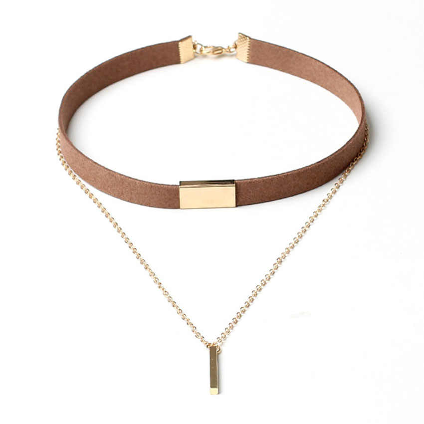 New Velvet Short Necklace Gold Chain Strip Short Section Necklace Women With Leather Double Chain Chain Pendant Collar