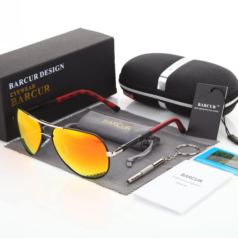 BARCUR Men Sunglasses 2018 Brand Original HD Polarized Driver glasses Polaroid Sun glasses Male Pilot Eyewear