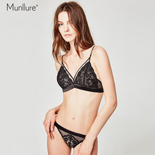 Munllure Flower black lace bra gathered chest sexy no steel ring on the collection anti-sagging underwear suit women bra set(China)