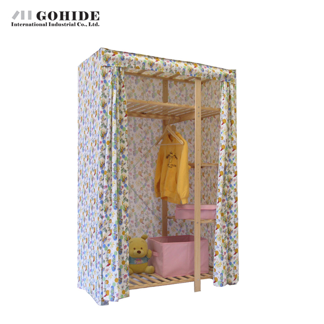 Gohide Savoring Home Double Solid Wood Wardrobe Eco-Friendly Cloth Wardrobe 751f Home Furnishing Decoration Closet