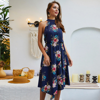 Womens Dress Ladies Prom Summer Sleeveless Boho Fashion Party Cut out Sexy Cocktail Printed Asymmetric Midi Halter