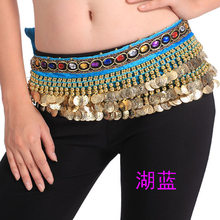 3 Layer Belly Dance Belt Bellydance Hip Scarf Oriental Dancing Clothing Coin Chain with Colorful Acrylic Stone(China)