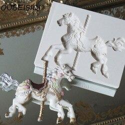 3D bijoux carrousel cheval moule Fondant gâteau moules Silicone moule Cupcake moule cuisson chocolat moule noël