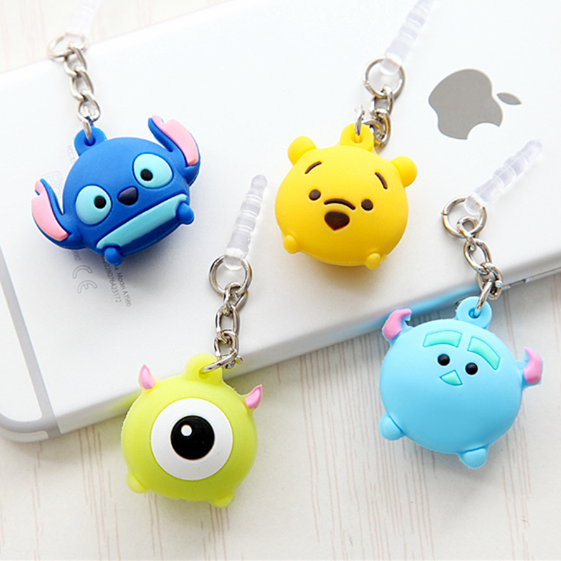 Cute cartoon mobile phone dust plug For iphone 5 6 6s plus 3.5mm universal Cell Phone Accessories pendant headset dust plug