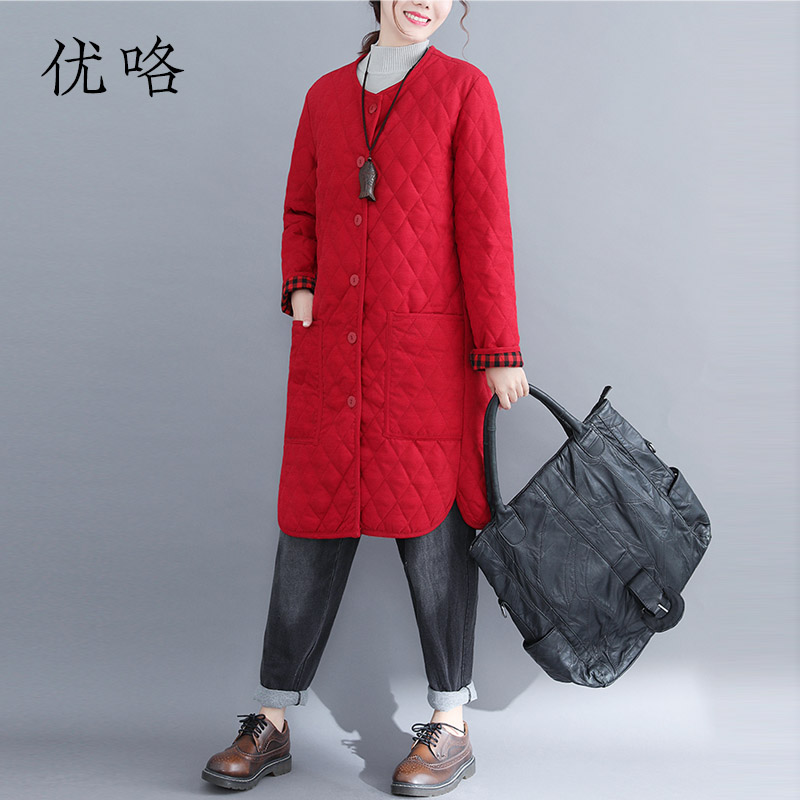 Plus Size Plaid Korean Cotton Jacket Women Winter Fashion Solid Warm Coat Long Sleeve Casual Parka Women Coats And Jackets 2019-in Parkas from Women's Clothing    1