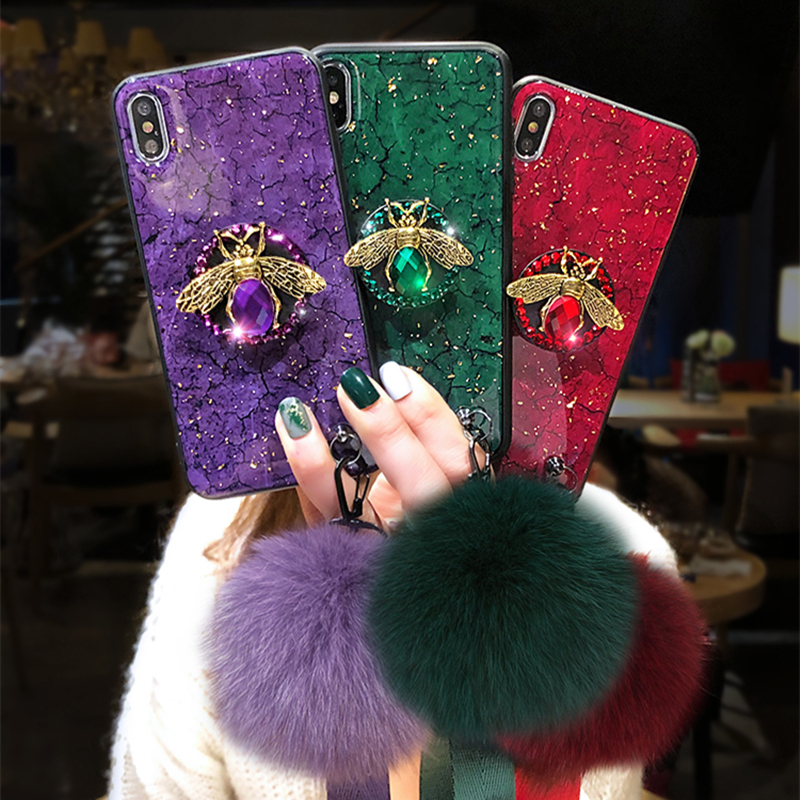 HTB18N7ANPDpK1RjSZFrq6y78VXa9 Luxury marble glitter diamond bee bracket silicone phone case for iphone X XR XS 11 pro MAX 7 8 6S plus for samsung S8 S9 S10