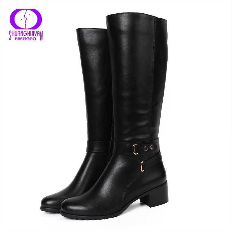 AIMEIGAO Yeni 2017 Kış Yüksek Çizmeler Yuvarlak Ayak diz Yüksek Çizmeler Fermuar Çizmeler Kış Ayakkabı zapatos de mujer de moda