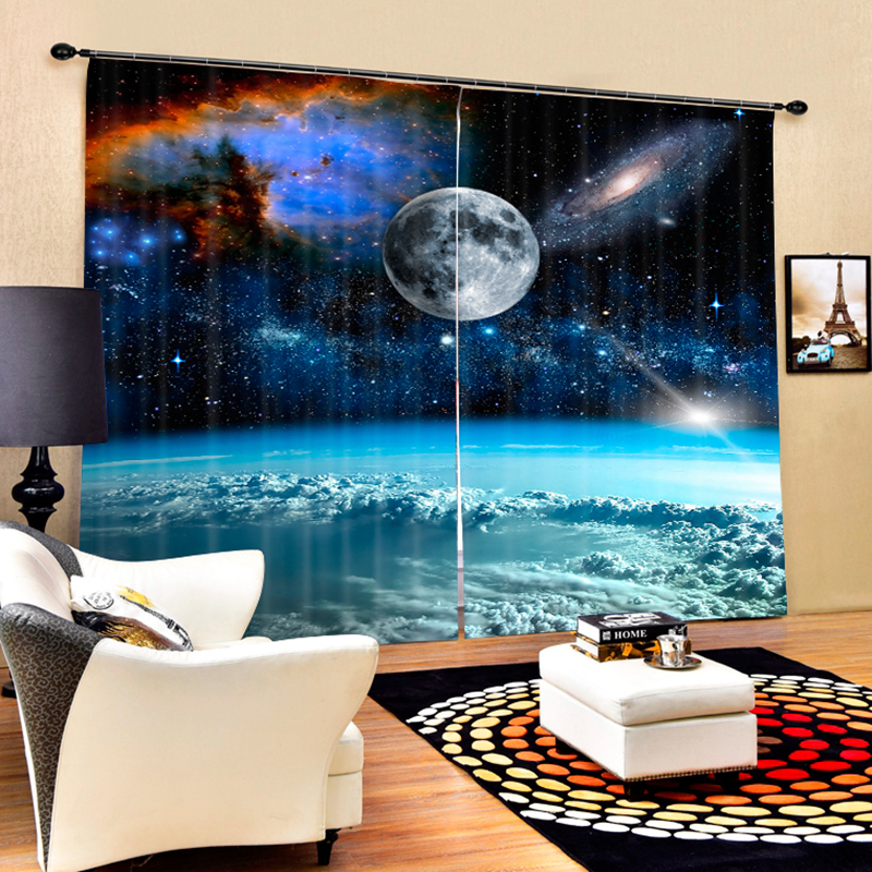 Senisaihon Modern 3D Blackout Window Curtains Cartoon Earth Space Galaxy Pattern Polyester Bedroom Curtains for Living Room ...