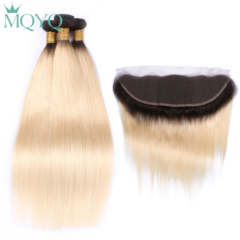 MQYQ Malaysian Blonde Straight hair Bundles With Frontal 1b 613 3Pcs Human Hair Bundles 13*4 Lace Frontal Ombre Hair Extension