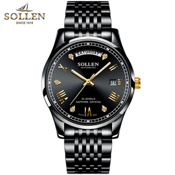 SOLLEN Business Mens Watch Top Brand Luxury Stainless Steel Diamond Luminous Best Mechanical Watch Automatic Male Wrist Homme