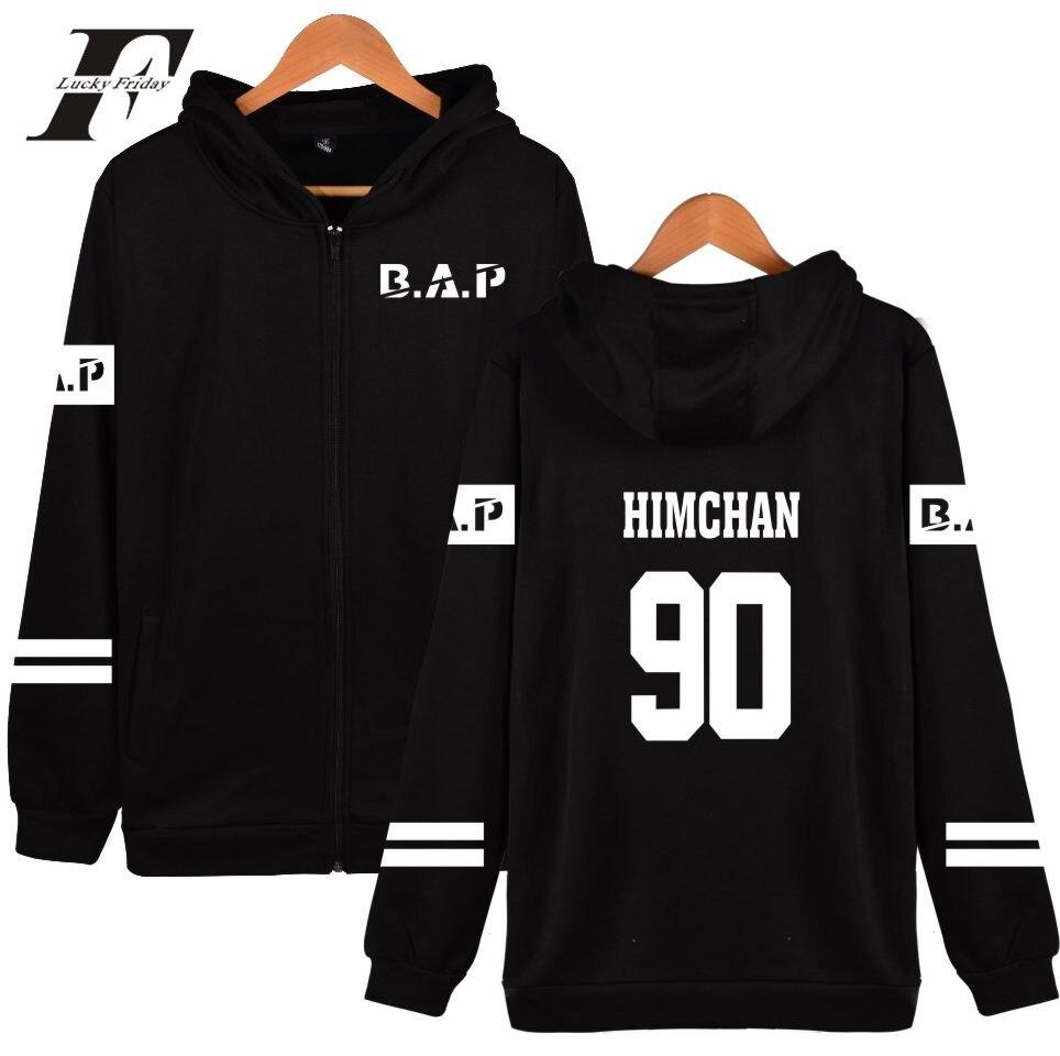 LUCKYFRIDAYF B.A.P Popular Groups Kpop Hooded Men/Women Hoodies Zipper Popular HipHop Winter Sweatshirt Cotton Casual Clothes