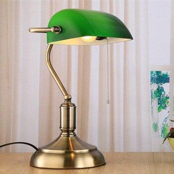 Gölge Cam Düğme Tipi çince Geleneksel Aydınlatma/yeşil Cam Kapak Masa Lambası Retro Vintage Masa Aydınlatma