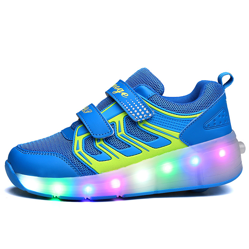 Kalupao New Children Roller Skate Shoes Boys Girls Automatic Jazzy LED Lighted Flashing Roller Skates Kids Sneakers With Wheels цена 2017