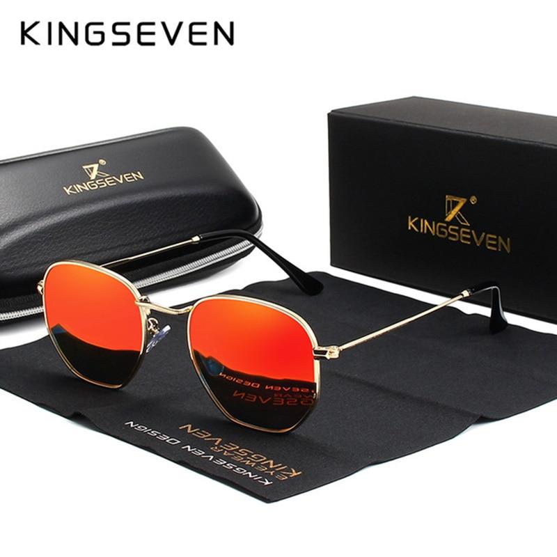 Kingseven 2019 clássico reflexivo óculos de sol dos homens hexágono retro óculos de sol aço inoxidável