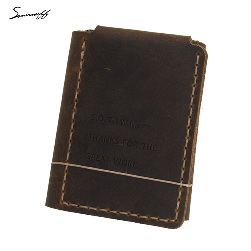 Smirnof Vintage Leather Men Purse The Secret Life Of Walter Mitty Retro Wallet LOGO Håndlaget ekte skinn lommebok hann