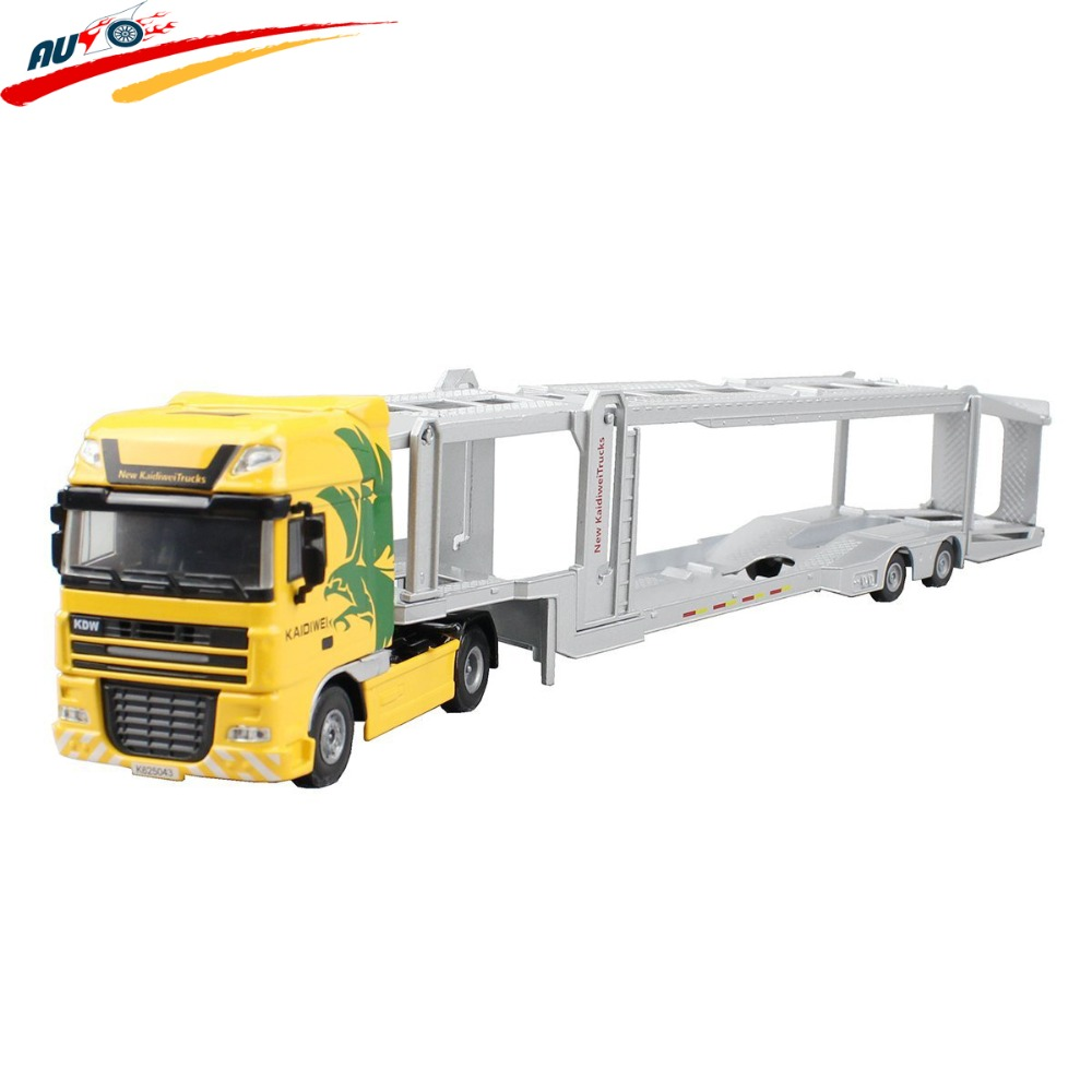 Alloy 1:50 Double-Deck Car Transporter Truck Diecast  Vehicle Model Toy green 1 24 scale foton lovol m2104 k tractor diecast model truck alloy toy m2104k