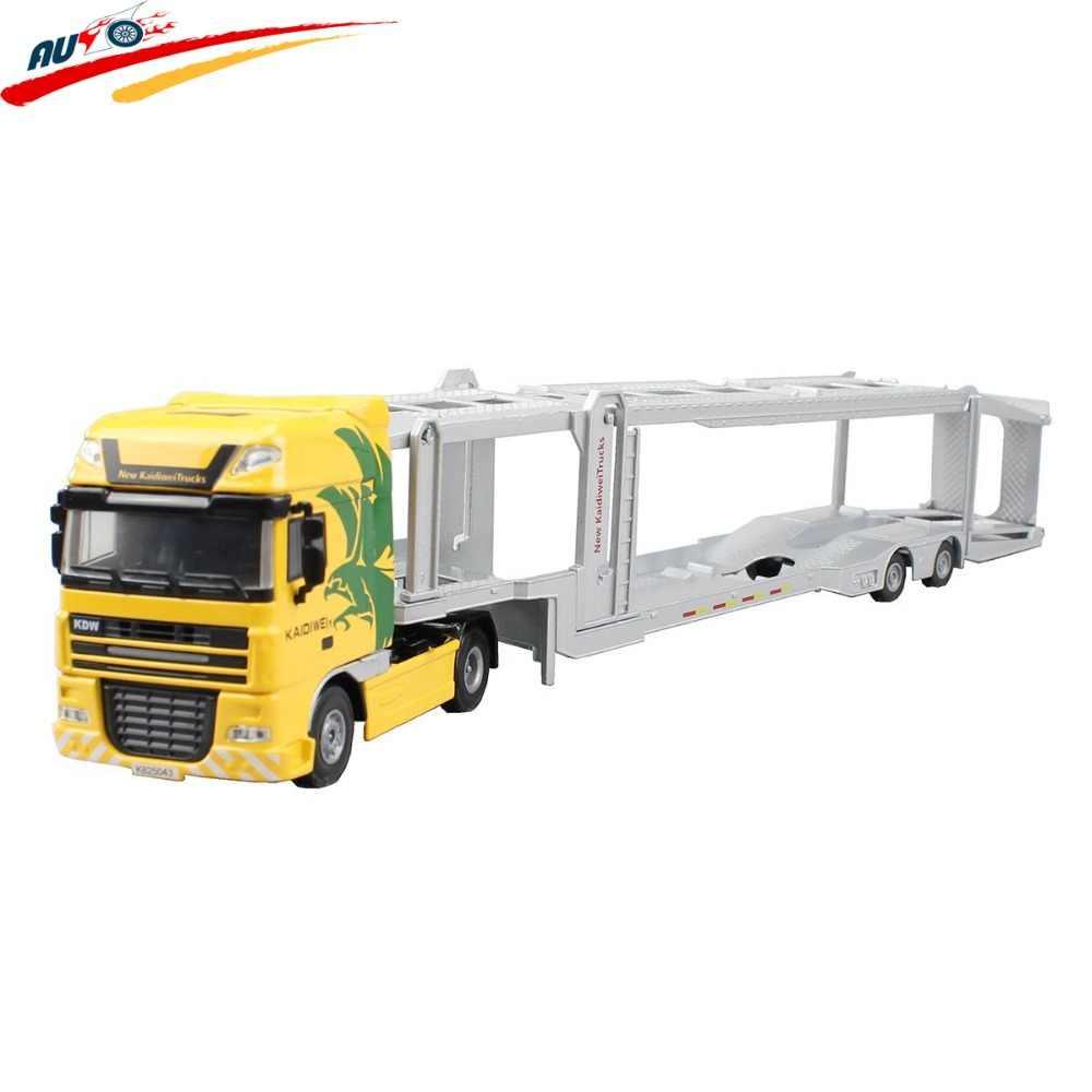 Alloy Diecast Double-Deck Mobil Transporter Datar Trailer Truk 1:50 Platform Model Kendaraan Mainan Hobi untuk Anak-anak hadiah Natal