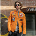 2017 New Men Yellow Leather Motorcycle Jacket Stand Collar Slim Fit Plus Size XXXL Cowskin Men Winter Biker Coat FREE SHIPPING
