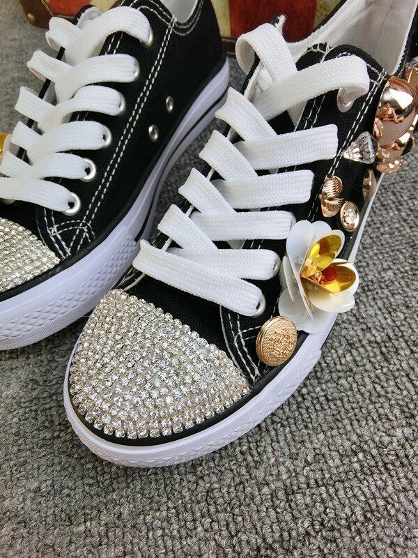 Noir Fleurs Top Crânes Pour Grande Taille Simples Cousu Chaussures De Main Strass Décontracté 40 Low Femme Toile blanc Femmes qAxE7TBFw