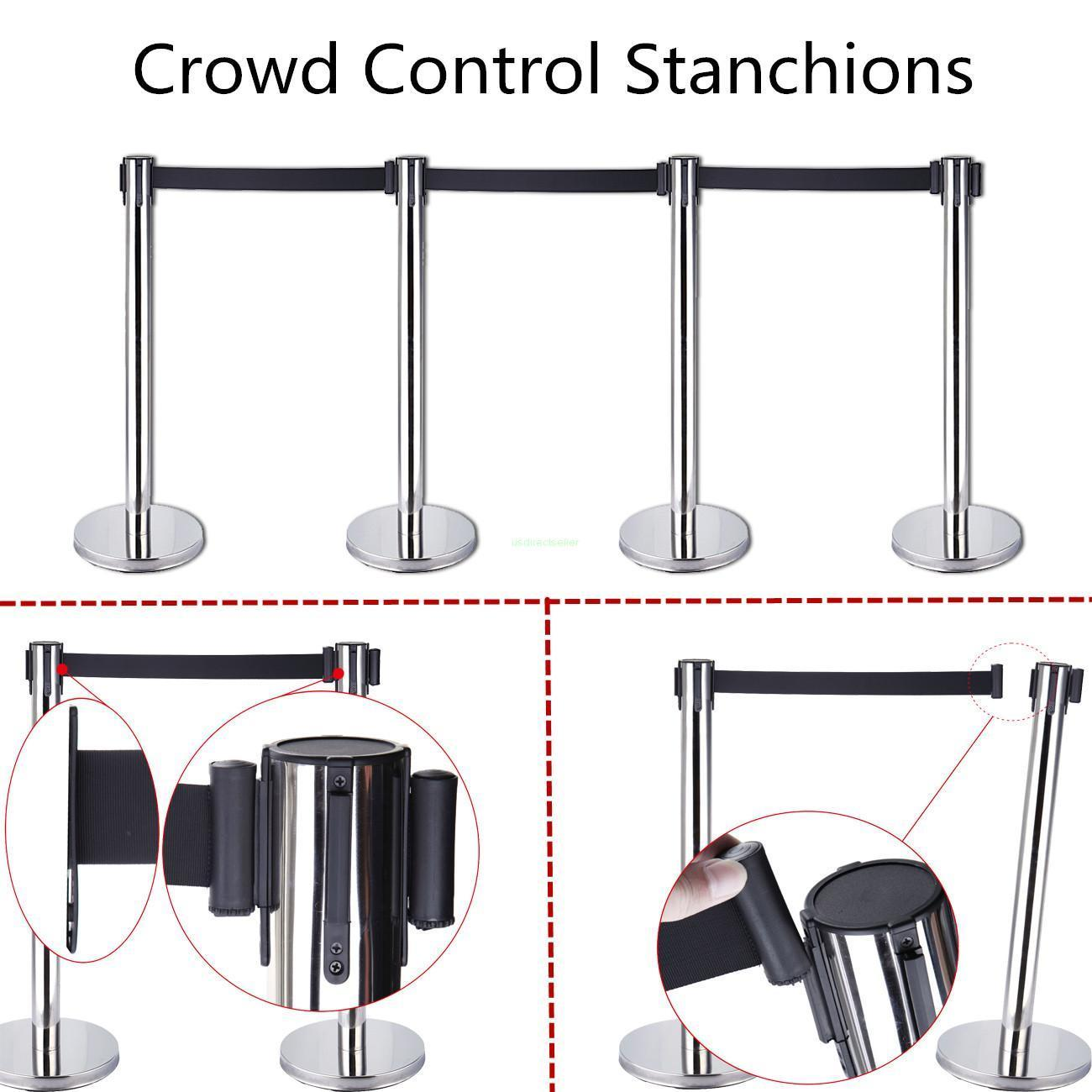 (Ship from CA)4x Retractable Stanchions /Stretch Style Crowd Control Barriers Black Belts New max 5m belt lengthe wall amoutn barrier stanchions retractable betl for area separation