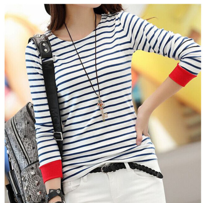 Beautiful Women Clothes Store Hot Selling Women White Blue Stripe Shirts Blusas Long Sleeve O-neck roupas femininas Loose Blouses Ladies Casual Tops AQ853632