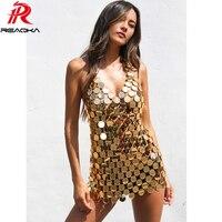 Sexy Metal body Chest chain Sequin dress women Backless Gold Summer dress Beach bodycon vestido Luxury nightclub party dresses
