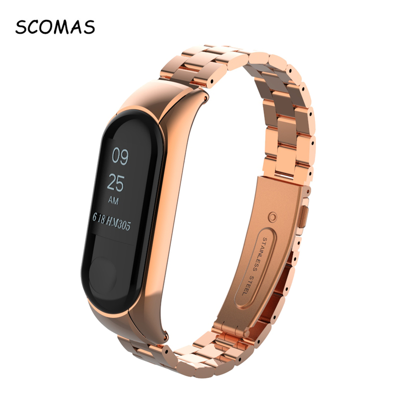 SCOMAS for Miband 3 Strap Screwless Belt for Xiaomi Band 3 Metal Strap Stainless Steel Wrist Band Bracelet for Xiaomi Mi band 3