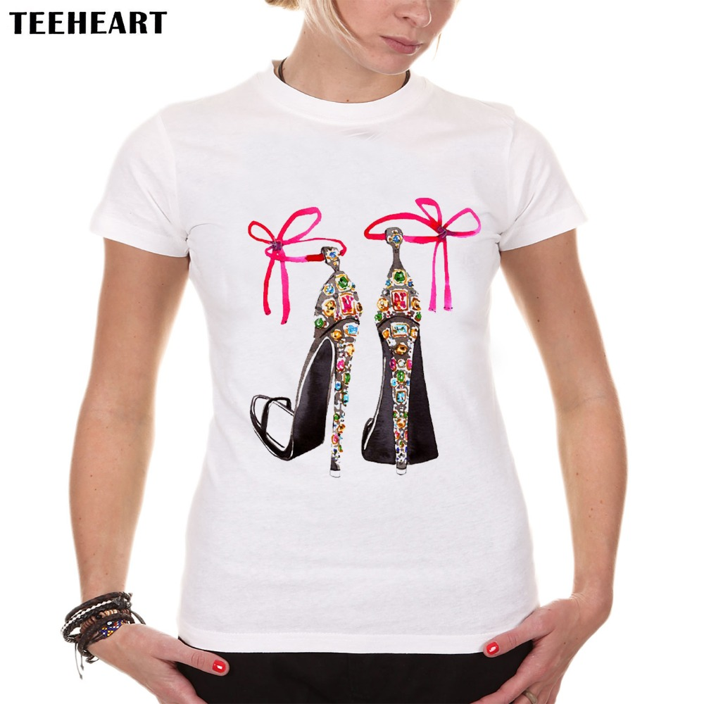Teeheart summer high hell shoes printed top tees women for Best t shirts for summer