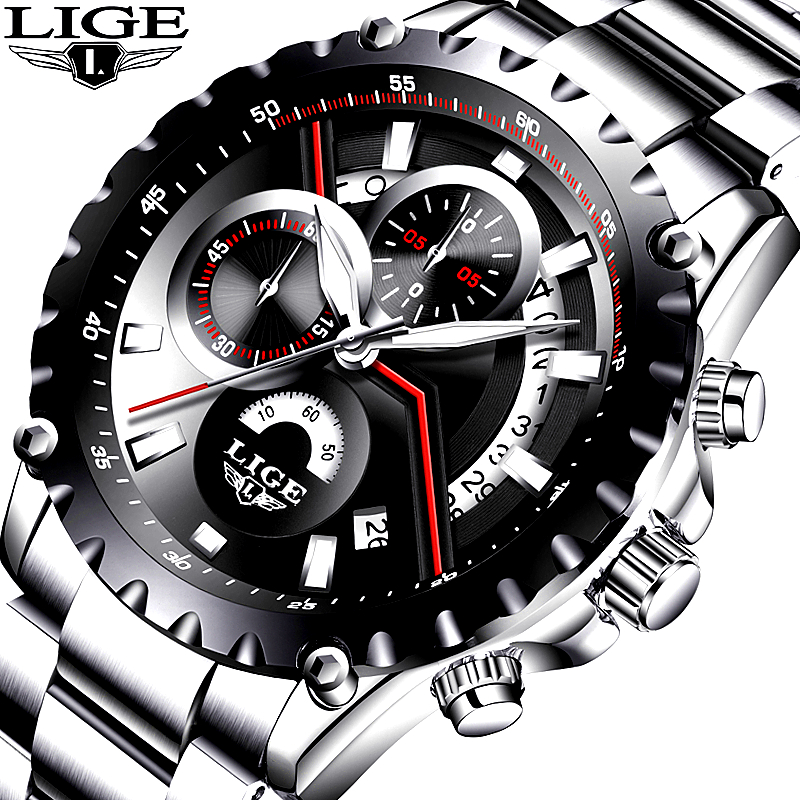 LIGE Mens Watches Luxury Top Brand