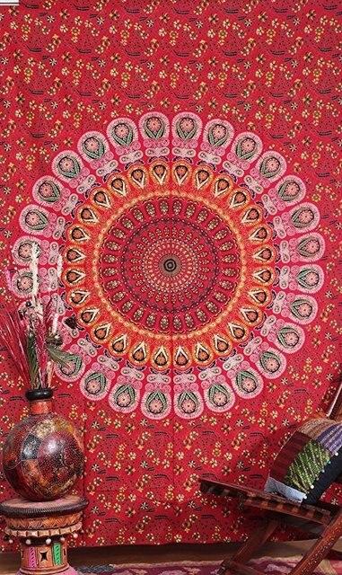 Us 1835 Gedruckt Polyester Rechteck Große Pfau Indische Mandalas In Stoff Hängen Wandteppiche Teppich Wandkunst Böhmischen Decor In Gedruckt