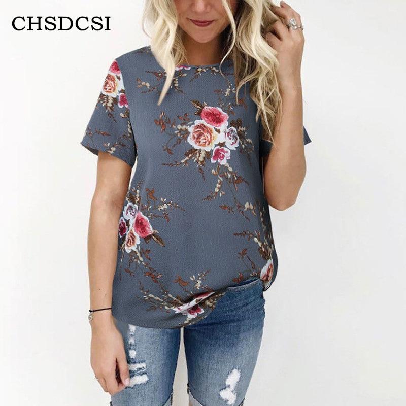 CHSDCSI Floral Print   Blouse   Summer Women Short Sleeve White Top   Blouses   Loose Beach   Shirt   Big Size   Shirts   S-XXXL Casual   Shirts
